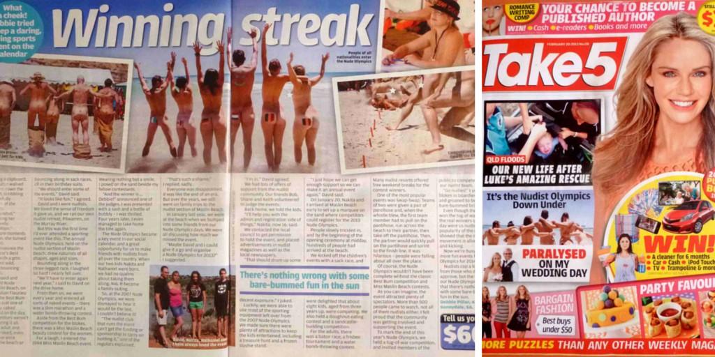 Nude Olympics ou mon popotin dans un magazine australien