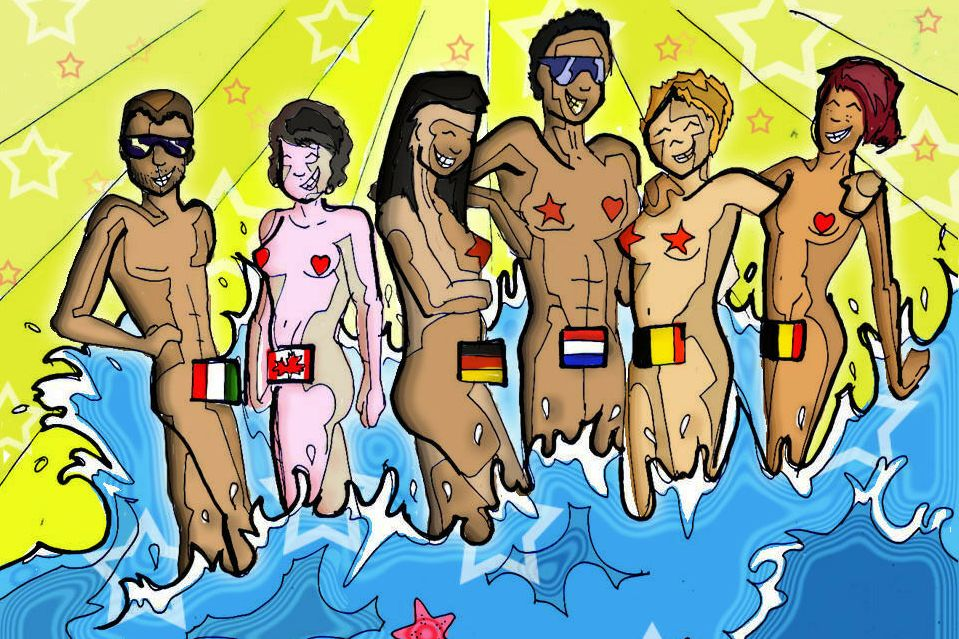 Dessin des Nude Olympics - Maslin Beach - Australie